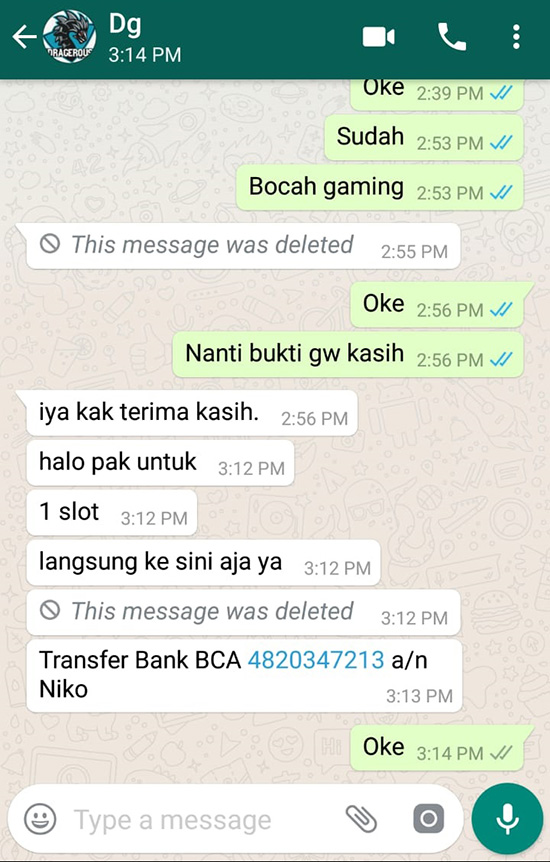 peserta diminta transfer ke media partner