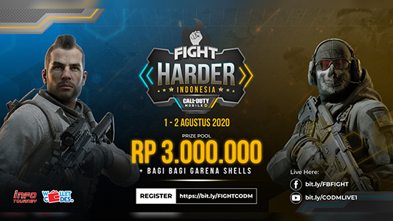turnamen codm call of duty mobile agustus 2020 fight harder logo