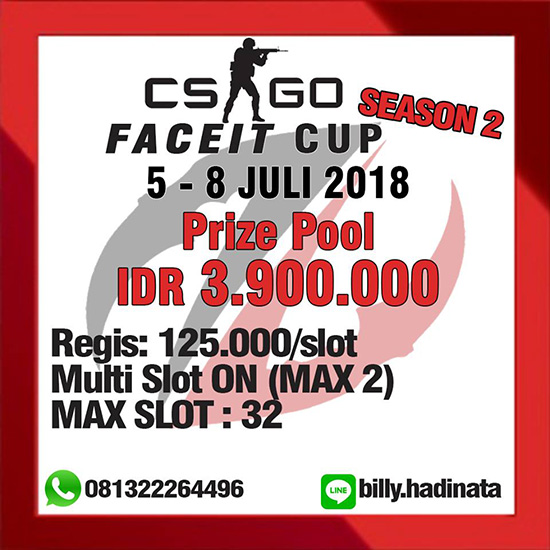 turnamen csgo counter strike global offensive faceit cup season 2 juli 2018 poster