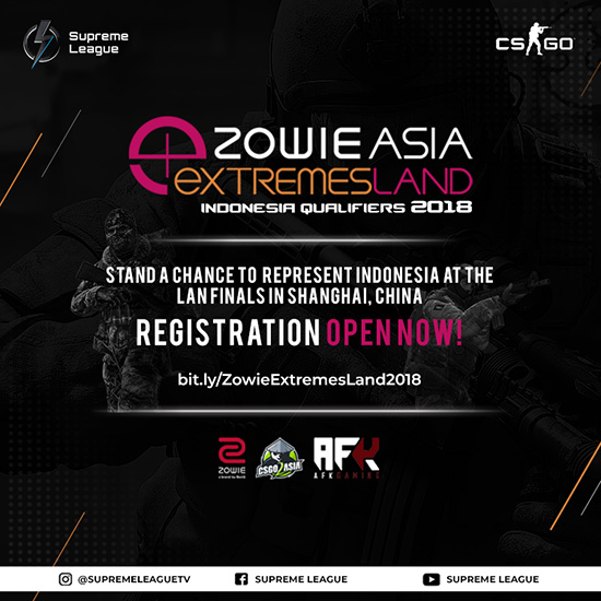 turnamen csgo counter strike global offensive zowie extremesland indonesia qualifier 2018 poster