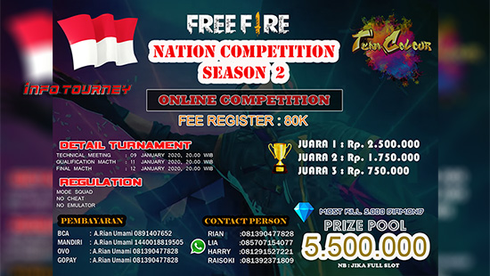 turnamen ff free fire januari 2020 national competition season 2 logo