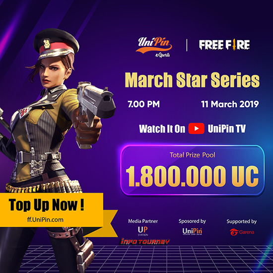 turnamen ff free fire ff unipincom march star series maret 2019 poster