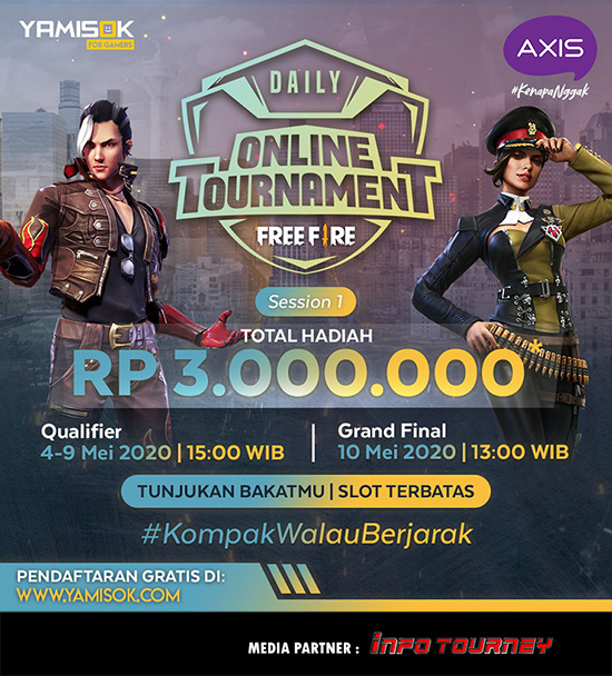 turnamen ff free fire mei 2020 axix daily session 1 poster