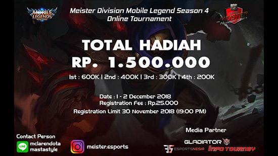 turnamen ml mole mobile legends meister esports season 4 desember 2018 logo