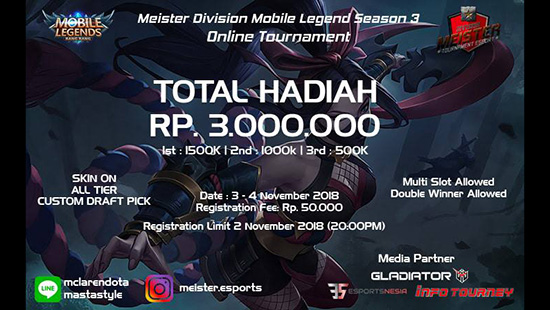 turnamen ml mole mobile legends meister division season 3 november 2018 logo