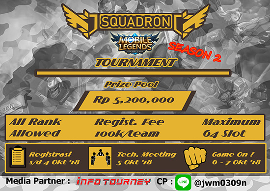 turnamen mobile legends squadron tournament season 2 oktober 2018 poster