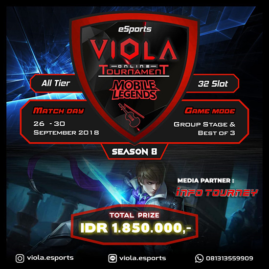 turnamen mobile legends viola esports season 8 september 2018 poster
