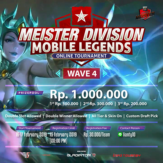 turnamen ml mole mobile legends meister division mobile legends wave 4 februari 2019 poster