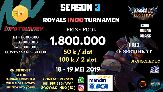 turnamen ml mole mobile legends royals indo group season 3 mei 2019 logo