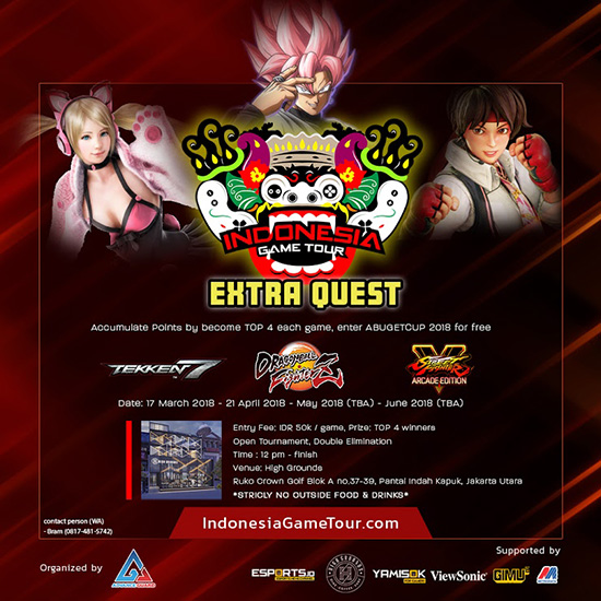 turnamen tekken 7 dbz street fighter v indonesia game tour extra quest fase 1 maret 2018 poster